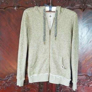 Roxy olive green hoodie sz XS jacket zip up